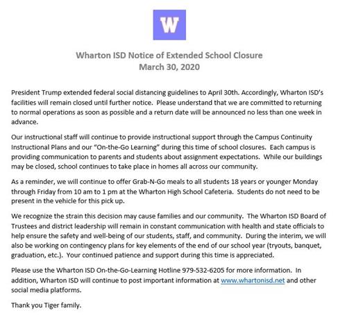 WISD Extended Closure